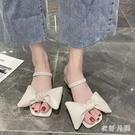 時尚方頭粗跟拖鞋 夏新款韓版中跟一字拖女外穿百搭網紅蝴蝶結拖鞋 JX1215【衣好月圓】