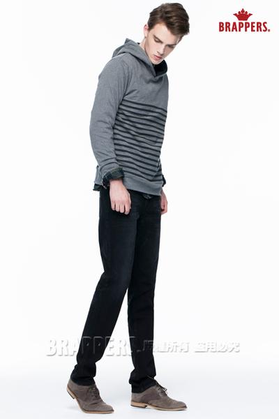 BRAPPERS 男款 HM中腰系列-中腰彈性窄直筒褲-黑