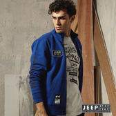 【JEEP】美式徽章立領刷毛外套 藍色
