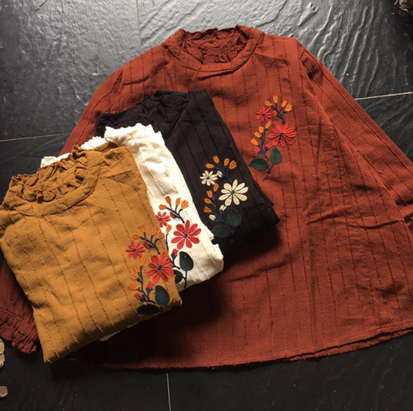 上衣 立領背開釦暗條提花刺繡二色-月兒的綺麗莊園