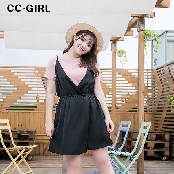 中大尺碼 粉色T恤上衣+吊帶背心短褲裙 兩件式套裝 - 適XL~4L《 66620 》CC-GIRL