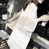 【QV1895】魔衣子-透視網紗寬鬆中長款開衫外套
