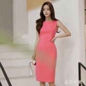 2020夏季新款女裝OL名媛氣質修身雪紡無袖洋裝職業一步包臀裙XL3532【東京衣社】