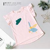 純棉 童話塗鴉雲朵圍巾鵝短T 細條紋 上衣 荷葉邊 可愛 插畫【哎北比童裝】