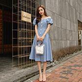 工廠直銷不退換~韓版一字肩泡泡袖收腰大擺顯瘦連身裙9163GD5F567-B紅粉佳人