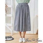 【Tiara Tiara】鬆緊腰細格紋半身裙(藏青)