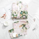 日系睡衣-和服睡衣女純棉薄款紗布長袖清新可愛和風睡衣家居服套裝-奇幻樂園