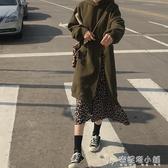 豹紋拼接假兩件套頭連帽衛衣女寬鬆韓版秋季中長款學生長袖連衣裙 安妮塔小舖