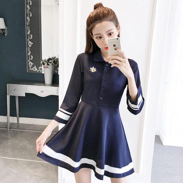 VK精品服飾 韓國學院風氣質修身顯瘦水手服長袖洋裝