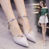 韓版尖頭細跟中空涼鞋女中跟單鞋婚鞋一字式扣帶低跟鞋銀色高跟鞋   伊鞋本鋪
