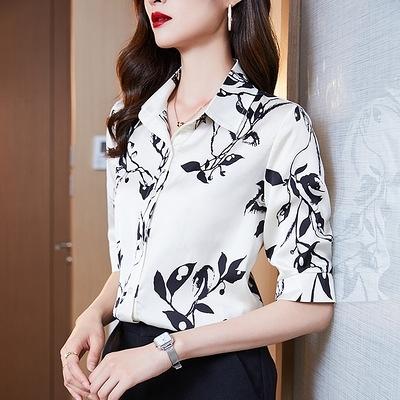 短袖襯衫雪紡上衣S-2XL緞面印花襯衫女高端設計感時尚洋氣襯衣氣質上衣H403依佳衣