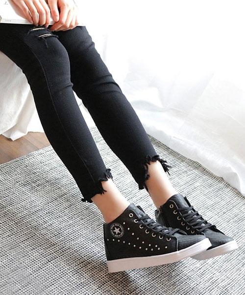 【2wenty6ix】正韓 ★ STARS Sneaker 質感壓紋皮革 精緻燙鑽 內拉鍊 繫帶厚底休閒鞋 (兩色)