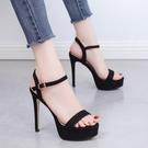 特惠 性感超高跟鞋 12/14CM細跟夜店黑色防水臺涼鞋夏女模特走秀鞋