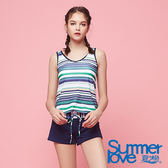 【Summer Love 夏之戀】加大碼渡假風長版三件式泳衣(S18729)