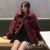 冬季韓版中長款加厚仿羊羔毛翻領棉衣BF風寬松拉鏈開衫棉服外套女