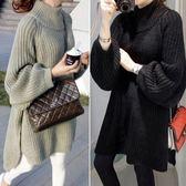 冬季新款韓版女裝套頭慵懶寬鬆針織衫中長款毛衣長袖洋裝