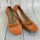 BRAND楓月 TOD'S 粉色麂皮豆豆樂福鞋 豆豆鞋 涼鞋 包鞋 懶人鞋 折疊 皮鞋 經典鞋款 蝴蝶結 #UK07