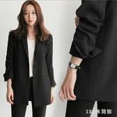 小西裝外套女2019早秋新款韓版時尚輕熟休閒寬鬆英倫風長袖外套 EY8504【123休閒館】