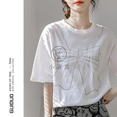 白色T恤女夏短袖寬鬆純棉鑲鉆夏季百搭設計感小眾上衣【小酒窩】