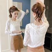 蕾絲衫女春夏季新款女長袖T恤女上衣網紗鏤空花領打底衫百搭    蜜拉貝爾