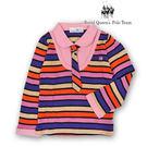 台灣製中大女童粉色假兩件式彩色條紋長袖線...
