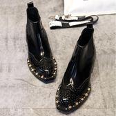 小皮鞋 ins馬丁靴女短筒新款漆皮布洛克鉚釘切爾西短靴女機車靴英倫女鞋 夢藝家