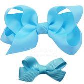 Cutie Bella 手工蝴蝶結髮夾 羅紋緞帶 全包布 中小款二入套組-Aqua
