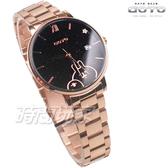 GOTO 羅馬 星星 卡娜赫拉的小動物報時生活 女錶 不鏽鋼 學生錶 玫瑰金x黑色 GS0099B-44-341