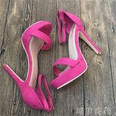 涼鞋 歐美新款玫紅色夜場高跟防水台13cm一字帶恨天高大方涼鞋女 唯伊時尚