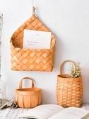 純手工木片編織可手提小花籃吊掛花盆壁掛 綠蘿吊籃花卉創意懸掛