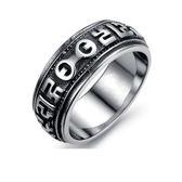 【5折超值價】【316L西德鈦鋼】最新款經典個性六字真言男款鈦鋼戒指