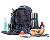 野餐包 含2人餐具組-藍色調旅行袋地墊便當保溫多袋雙肩後背包68ag11【時尚巴黎】