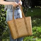 草編手提包購物籃 家用買菜籃子送禮籃 戶外野餐籃編織提籃出游包 一米陽光