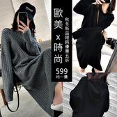 克妹Ke-Mei【AT56468】韓妞減齡年輕款寬鬆慵懶過膝長版連帽毛衣洋裝