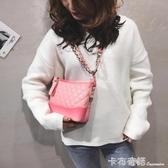 包包女新韓版時尚菱格錬條包簡約大容量復古斜背小方包 卡布奇諾