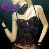 Chasney Beauty-鬱金香B-D水晶緞帶馬甲(黑-05)