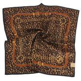 MICHAEL KORS 豹紋扣環裝飾純棉帕巾(深駝色)989239-7