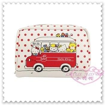 ♥小花花日本精品♥ Hello Kitty 化妝包 收納包 零錢包 小物包 紅色點點 公車 小熊 42216803