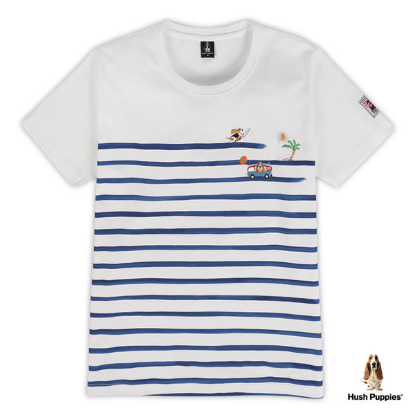 Hush Puppies 男裝趣味狗刺繡印條紋短袖棉T恤