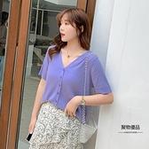 針織衫大碼女裝短袖寬鬆t恤【聚物優品】