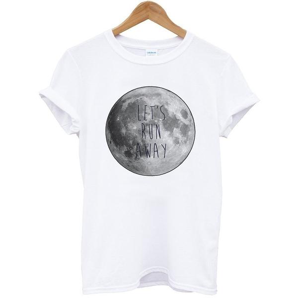 LETS RUN AWAY-Moon短袖T恤-白色 月亮 地球 文青 圖片 時尚 設計 時髦 照片