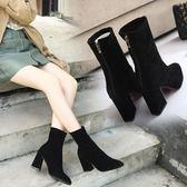百搭尖頭磨砂中筒靴子粗跟高跟馬丁靴彈力靴襪靴  格蘭小舖