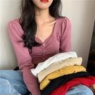限時特價 秋季新款時尚韓版鎖骨方領長袖修身顯瘦打底針織衫上衣女裝