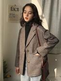 西裝外套格子西裝外套女韓版chic復古英倫風新款春秋季休閒ins外套潮 韓國時尚週