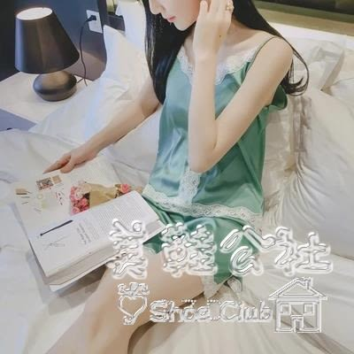性感絲綢吊帶背心短褲睡衣兩件套蕾絲家居服 BS20068『美鞋公社』