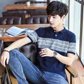 男士有領帶領短袖t恤 翻領POLO衫男青年韓版半袖大碼潮流 俏腳丫