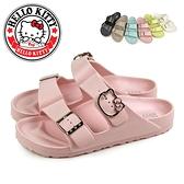 N-21001 馬卡龍凱蒂貓水鑽飾釦輕量防水拖鞋【HELLO KITTY 】