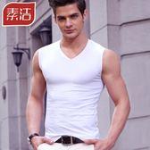 男士背心男夏季純棉青年透氣緊身修身型無袖T恤健身運動寬肩坎肩
