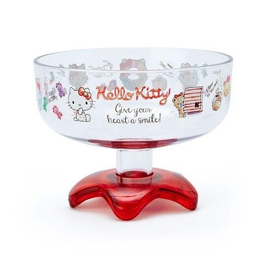 小禮堂 Hello Kitty 日製 冰淇淋杯 塑膠杯 矮腳杯 聖代杯 派對杯 310ml (紅 2020新生活) 4550337-38189