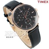 TIMEX 天美時 沉著 三眼計時真皮手錶 多功能錶 學生錶 女錶 黑x玫瑰金色 TW2T11600